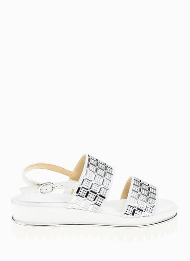 Divarese 5021090 Süet Kadın Sandalet Beyaz